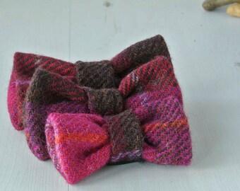 Dog Bow Tie, Cerise Plaid Harris Tweed Bow Tie, Detachable Bow tie,Pink Bow Tie, Plaid Bow tie