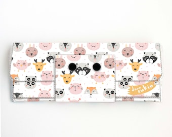 Vinyl Long Wallet - Animal Faces Pink / fox, deer, rabbit, vegan, pretty, large wallet, clutch, card case, vinyl wallet, big, woodland