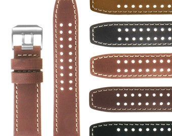 23mm Vintage Leather Replacement Watch Band Strap for Luminox Evo