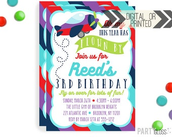 Airplane Invitation | Digital or Printed | Girly Plane Invitation | Airplane Invitation | Neutral Airplane Invite | Airplane Theme Party