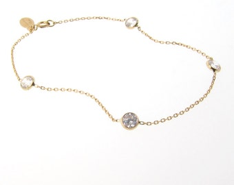 Gold Cubic Zirconia Station Bracelet In 14k Solid White Gold or Yellow Gold, Katie Holmes BRACELET