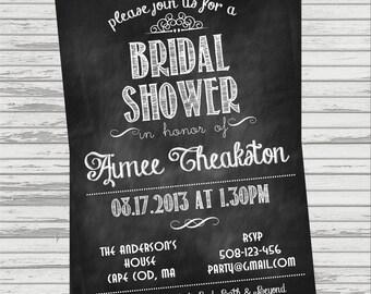 Chalkboard Bridal Shower Invite - Vintage Look.