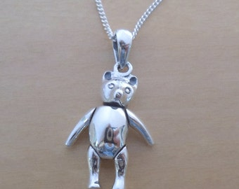 """925 Sterling Silver Solid Flexible Arms and Legs Move Teddy Bear Charm Pendant on 16"""", 18"""" or 20"""" Silver Curb Chain"""
