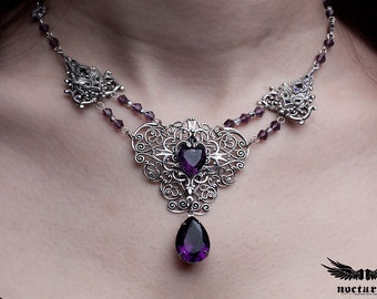 Victorian Necklace with Purple Heart Crystal - Gothic Necklace - Victorian Gothic Jewelry