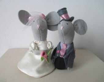 Wedding Cake Toppers, Mice Cake Toppers, Grey Mice, Cake Decor, Wedding Mice