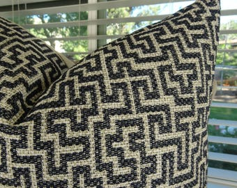 Navy Pillow Cover - Navy Ivory Throw Pillow - Navy Geometric Pillow -  Navy Ivory Patterned Accent Pillow - Geometric Pillow - 11424