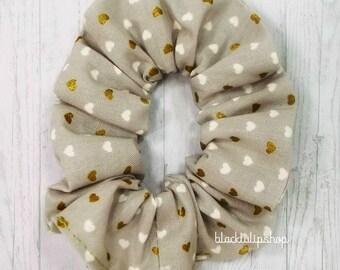 Cute Hair Scrunchies Kawaii Hair Accessories Gray Gold Hearts