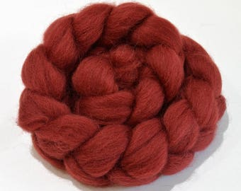 Shetland Wool Combed Top - Maroon - Conservation Breed - 100 grams