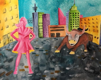 She Persisted Fearless Girl Original Watercolor Painting Brave Girl Wall Street New York City #MeToo Girl Power Office Decor for Women