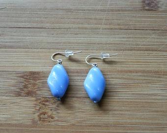 Blue twisted glass bead earring