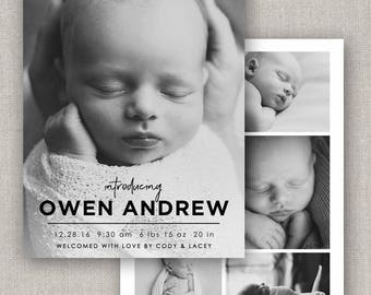Owen Birth Announcement Template #26 for Photoshop: Instant Download