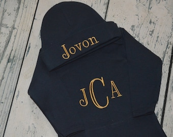 Monogrammed Navy Newborn Gown and Hat set, Personalized Baby Coming Home Layette