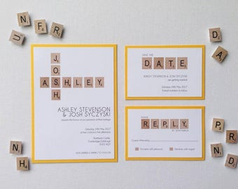 Scrabble themed wedding stationery wedding invitations quirky invites