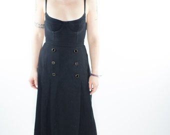 Vintage Skirt | 90s Black Wool | Goth Long Skirt | Size 14