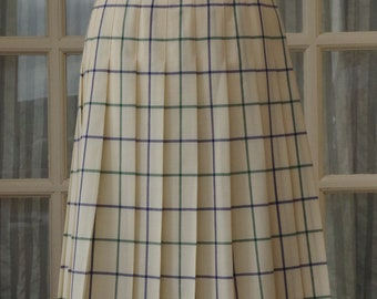 Burberrys Check Skirt Size 12 Cream Pleated 1980s Pale Yellow