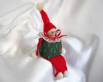 Handmade Block Elf, Vintage Christmas Decoration