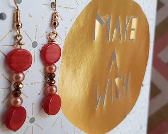 Dangle earrings - clip gold & Orange - a kind - handmade
