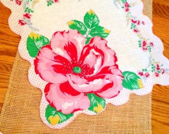 "Vintage Handkerchief, Wedding Hanky, Mother of the Bride, Bridesmaid, Floral Hibiscus, Red, Pink, Cottage Chic Hanky Bride Farmhouse  15"""
