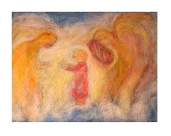 Angels playing the lyre, wool painting, print of needle felted tapestry-large size