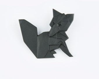 PORCELAIN  BROOCH FOX/Black porcelain/Porcelain origami/Origami pin/Origami brooch/Porcelain pin/Japaneese origami/Origami fox