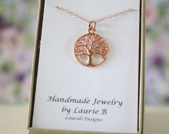 Tree of Life Charm Necklace, Friendship Gift, Rose Gold, Bestie Gift, Tree of Life, Thank you card, Tree Charm, Pink Tree, Family Tree