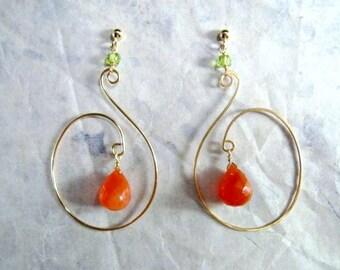 Carnelian Peridot Earrings- Swirl Design, Hammered Wire, Gold Filled