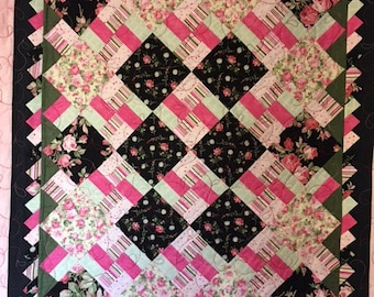 Modern Pink Black Quilt, Quilts for Sale, Handmade Quilts, Girls Quilts, Baby Quilts, Teen Quilts, Lap Quilt