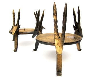 Forged Iron Gazelle Candlestick Holders