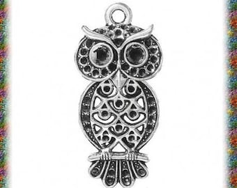 10 pendants antique articulated silver OWL