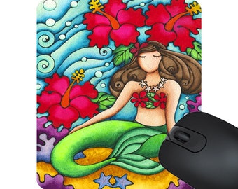 Mouse Pad Mermaid Hibiscus Flower Print Mousepad - Computer - Office - Desk - Painting - Colorful Art - Made in Hawaii - Art - Holly K -