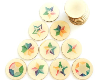 rainbow stars - memory match | my little set | wooden game | story stones | memory match |