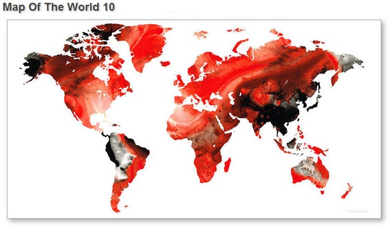 World map art print from painting white red black travel earth gumiabroncs Images