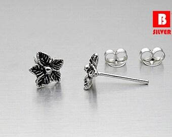 925 Sterling Silver Oxidation Earrings, Flower Earrings, Stud Earrings (Code : K16E)