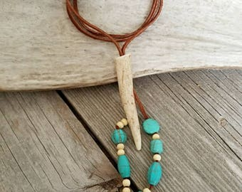 Brown Suede Antler Tip Necklace with Cream and Turquoise Accents