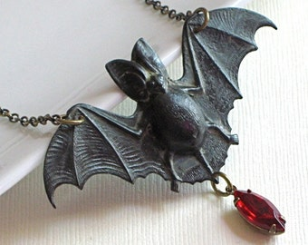 Black Bat Necklace -  Brass / Blood Red Jewel