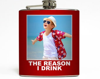 Custom Photo Flask Personalized Caption Pick Background Color Funny Bad New Parents Gift - Stainless Steel 6 oz Alcohol Hip Flask LC-1622