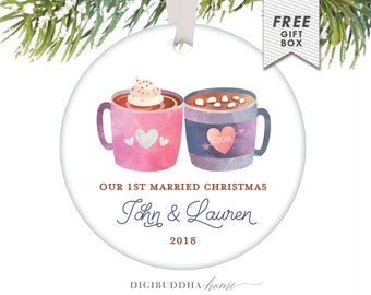 Married Couple Ornament Gift, First Year Wedding Anniversary Gifts, Married Couple Christmas Ornament Just Married Personalized Couple Gift