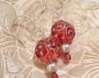 CRANBERRY SWIRL - Artisan Lampwork Glass Earrings