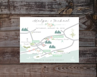 Save the date map Wedding invitation map Event map Guest