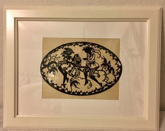 Women and Birds Hand Cut Paper Art Silhouette / vintage Style Replica