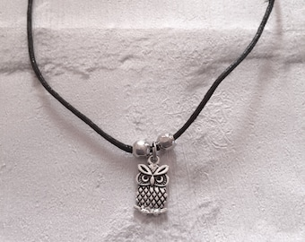 Owl Choker Necklace, Owl Waxed Cord Necklace, Kids Gifts, Stocking Filler, Owl Charm Choker, Grunge Fashion, Kids Cord Necklace.