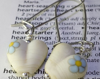 Forget Me Not Glass Heart Lampwork Earrings with Sterling Silver or Copper, Heart Earrings