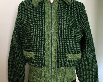 Ladies Classic 1950s style Handknitted Windcheater Jacket Dark Green and Acid Green Tweed