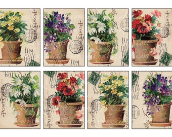 flowers 2.5 x 3.5 inch cards printable download vintage images atc aceo labels tags background digital collage sheet postcard