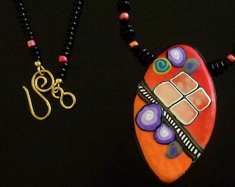Orange and Purple Funky Oval Art Pendant and Necklace by Carol Wilson of PollyClayDesigns