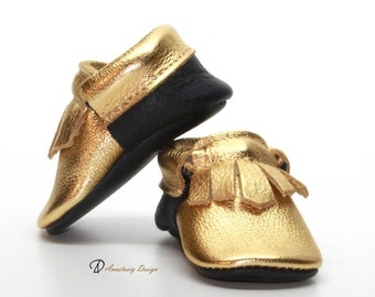 Gold Fringe Leather Baby Moccasins with Navy Blue Sole, Baby Girl Moccasins, Baby Girl Shoes