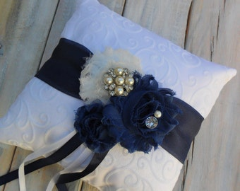 Ring Bearer Pillow, Navy Ring Bearer Pillow, Navy Ring Pillow, Shabby Chic Ring Bearer Pillow, Bridal Accessory, YOUR CHOICE COLOR