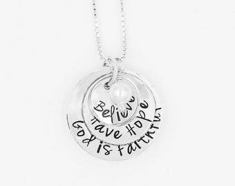 Believe Have Hope God is Faithful Sterling Silver Hand-Stamped Necklace