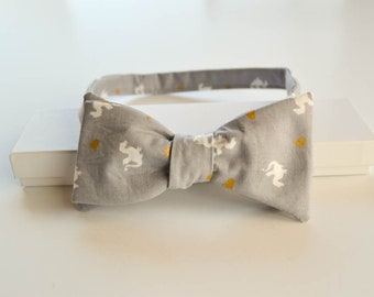 Grey Dragon Bow Tie - Gray Metallic Bow Tie - Adult Dragon Bow Tie - Self Tie Bow Tie - Pretied Bowtie - Mens Bow Tie