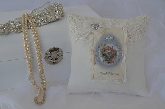 "Wedding Ring Bearer Pillow ""Best Wishes"""
